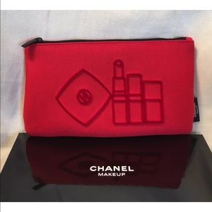 Chanel Beaute RED Makeup Cosmetic Bag Pouch